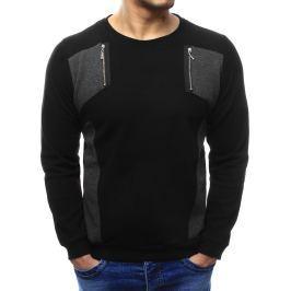 BASIC Pánský černý svetr (wx1029) velikost: M, odstíny barev: černá