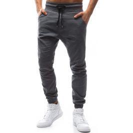 BASIC Pánské šedé stylové kalhoty (ux1134) velikost: S, odstíny barev: šedá