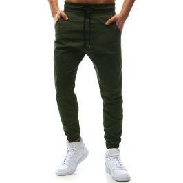 BASIC Pánské zelené stylové kalhoty (ux1137) velikost: S, odstíny barev: zelená