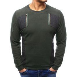 BASIC Pánská khaki svetr (wx1025) velikost: M, odstíny barev: zelená