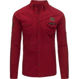 BASIC Bordová džínová košile (dx1262) velikost: M, odstíny barev: červená