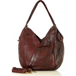 MARCO MAZZINI Bordó kožená kabelka (v29g) Velikost: univerzální