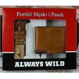 BUFFALO WILD Set koženého pásku a peněženky v hnědé barvě PSB-N7-01-GG Velikost: univerzální