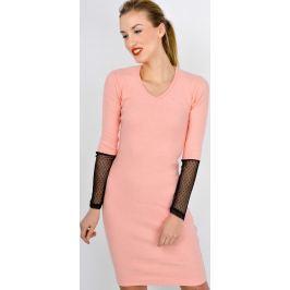 Meruňkové šaty s krajkovými rukávy - MD66 velikost: univerzální, odstíny barev: oranžová