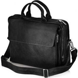 SOLIER Kožená černá taška na notebook (SL30 BLACK) Velikost: univerzální