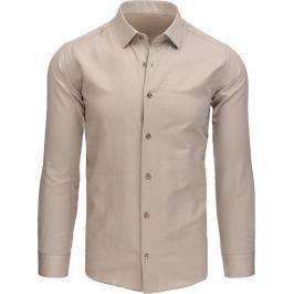 BASIC Pánská béžová košile (dx1428) velikost: M, odstíny barev: béžová