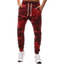 BASIC Červené kalhoty s maskáčovým vzorem (ux1145) velikost: S, odstíny barev: červená