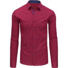 BASIC Pánská červená košile s dlouhým rukávem (dx1433) velikost: XL, odstíny barev: červená