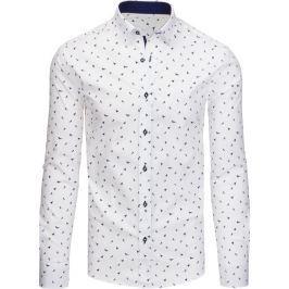 BASIC Bílá pánská košile s dlouhým rukávem  (dx1436) velikost: XL, odstíny barev: bílá