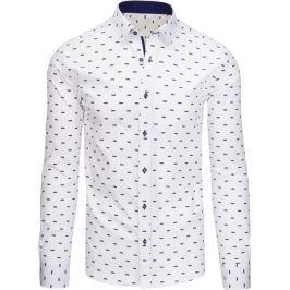 BASIC Bílá pánská košile s dlouhým rukávem (dx1437) velikost: L, odstíny barev: bílá
