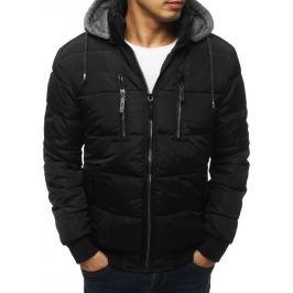 BASIC Černá prošívaná zimná bunda s šedou kapucí (tx3049) Velikost: M