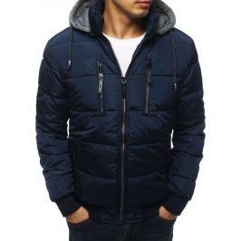 BASIC Tmavě modrá prošívaná bunda s šedou kapucí (tx3050) Velikost: M