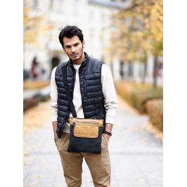 Always Wild kožená taška přes rameno (BAG-1-HB BLACK+TAN) Velikost: univerzální