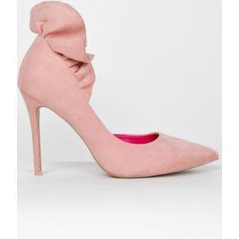 Růžové lodičky s ozdobnými volánky (5091-38) velikost: 35, odstíny barev: růžová