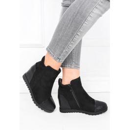 BASIC Černé glitterové kotníkové boty - 168111 Velikost: 40