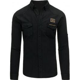 BASIC Černá pánská džínová košile (dx1261) velikost: M, odstíny barev: černá