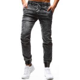 BASIC Pánské šedé kalhoty Denim look (ux1185) velikost: 29, odstíny barev: šedá