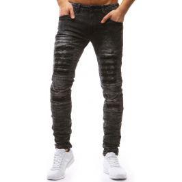 BASIC Černé pánské děrované kalhoty  (ux1203) velikost: 28, odstíny barev: černá