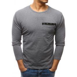 BASIC Tmavě šedé triko s dlouhým rukávem a zdobenou kapsou (lx0445) velikost: M, odstíny barev: šedá