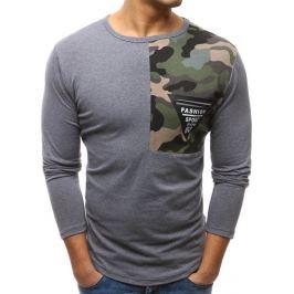 BASIC Tmavě šedé triko s army detailem na rameni (lx0451) Velikost: M