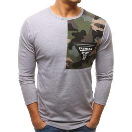 BASIC Světle šedé triko s army detailem na rameni (lx0452) velikost: M, odstíny barev: šedá