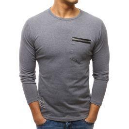 BASIC Antracitový dlouhý rukáv s kapsou (lx0459) velikost: M, odstíny barev: šedá