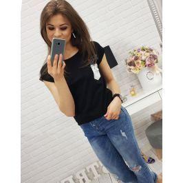 BASIC Dámské černé tričko s potiskem (ry0282) velikost: XL, odstíny barev: černá