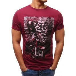 BASIC Vínové tričko s potiskem (rx2640) velikost: L, odstíny barev: červená