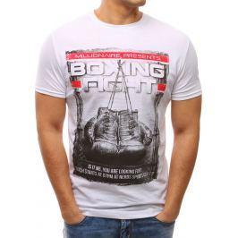 BASIC Bílé tričko s potiskem (rx2649) velikost: L, odstíny barev: bílá