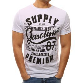 BASIC Pánské bílé tričko s potiskem (rx2652) velikost: L, odstíny barev: bílá