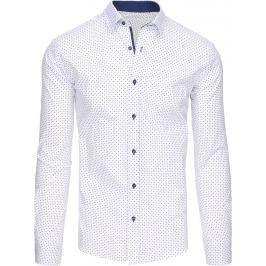 BASIC Pánská bílá košile s puntíky (dx1442) velikost: L, odstíny barev: bílá