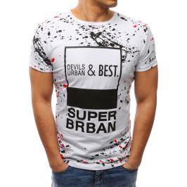 BASIC Modní bílé tričko s potiskem (rx2679) velikost: M, odstíny barev: bílá