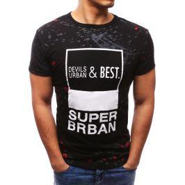 BASIC Modní černé tričko s potiskem (rx2681) velikost: M, odstíny barev: černá