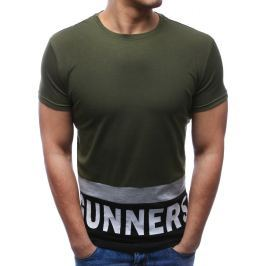BASIC Modní zelené tričko s potiskem (rx2687) velikost: M, odstíny barev: zelená