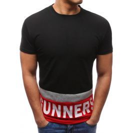 BASIC Modní černé tričko s potiskem (rx2689) velikost: M, odstíny barev: černá