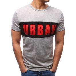BASIC Modní šedé tričko s potiskem (rx2700) velikost: M, odstíny barev: šedá