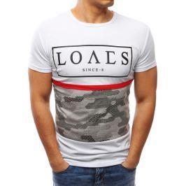 BASIC Modní bílé tričko s potiskem (rx2711) velikost: M, odstíny barev: bílá