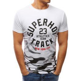 BASIC Bílé tričko s potiskem (rx2716) velikost: M, odstíny barev: bílá