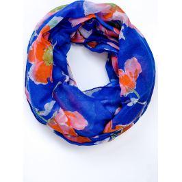 BASIC Lehký modrý šátek s barevnými květy (CH2257-22) Velikost: univerzální
