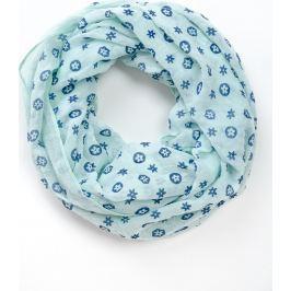 Lehký modrý šátek s motivem květů (CH8111-29) velikost: univerzální, odstíny barev: modrá