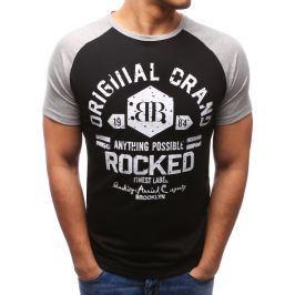 BASIC Pánské tričko s černým potiskem (rx2695) velikost: M, odstíny barev: černá