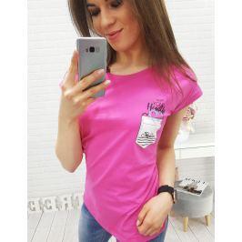 BASIC Dámské růžové tričko s potiskem (ry0336) velikost: M, odstíny barev: růžová