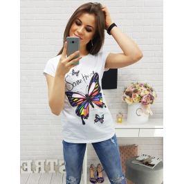 BASIC Dámské bílé tričko s potiskem (ry0354) velikost: L, odstíny barev: bílá