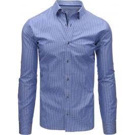 BASIC Tmavě modrá kostkovaná košile s dlouhým rukávem (dx1472) Velikost: M