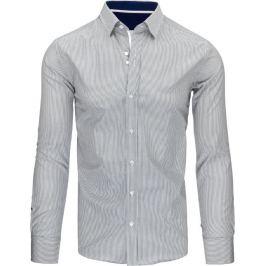 BASIC Elegantní šedá pruhovaná košile (dx1496) Velikost: M