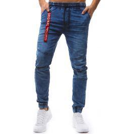 BASIC Modré kalhoty ve stylu jeans (ux1244) velikost: M, odstíny barev: modrá