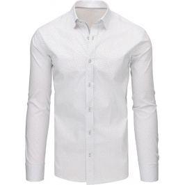 BASIC Bílá pánská košile s dlouhým rukávem (dx1498) velikost: M, odstíny barev: bílá