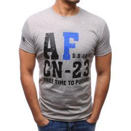 BASIC Pánské šedé tričko s potiskem (rx2777) velikost: M, odstíny barev: šedá
