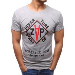 BASIC Pánské šedé tričko s potiskem (rx2782) Velikost: M