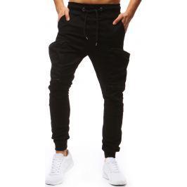 BASIC Pánské černé kalhoty (ux1250) velikost: M, odstíny barev: černá